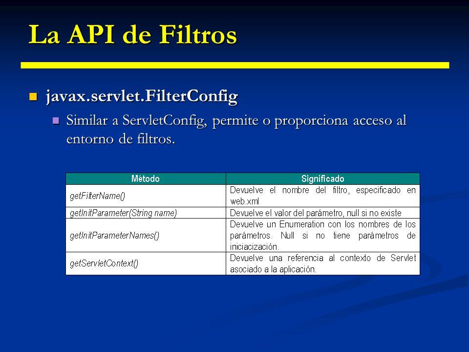 La API de Filtros javax.servlet.FilerChain javax.servlet.FilerChain permite al filtro invocar el resto de la cadena de filtro (siguiente de la cadena), a través del método doFilter().