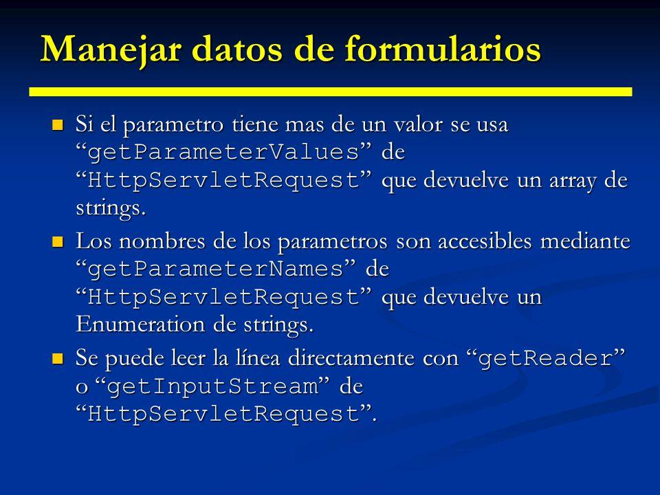 Ejemplo 1: Leer tres parámetros import java.io.*; import javax.servlet.*; import javax.servlet.http.*; import java.util.*; public class ThreeParams extends HttpServlet { public void doGet(HttpServletRequest request, HttpServletResponse response) HttpServletResponse response) throws ServletException, IOException {response.setContentType( text/html ); PrintWriter out = response.getWriter(); String title = Reading Three Request Parameters ;