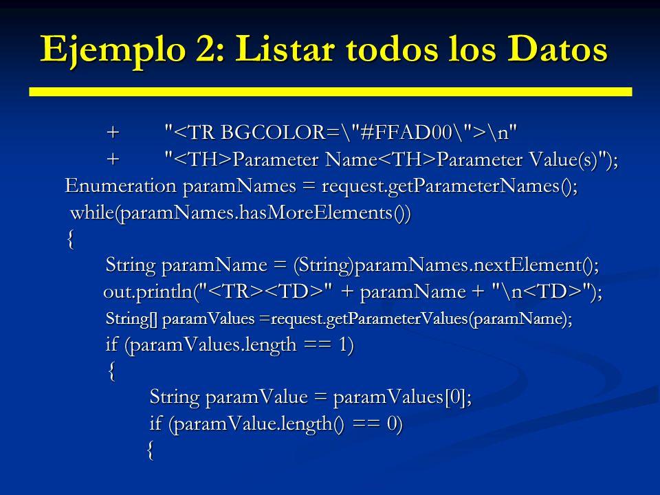 Ejemplo 2: Listar todos los Datos out.print( No Value ); }else{ out.print(paramValue); out.print(paramValue); } else else{ out.println( ); out.println( ); for(int i=0; i<paramValues.length; i++) for(int i=0; i<paramValues.length; i++) { out.println( + paramValues[i]); out.println( + paramValues[i]); } out.println( ); } out.println( );