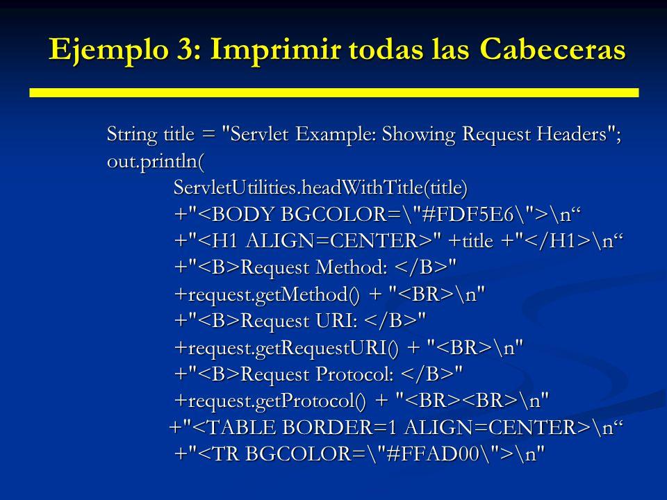 Ejemplo 3: Imprimir todas las Cabeceras Ejemplo 3: Imprimir todas las Cabeceras + Header Name Header Value ); Enumeration headerNames = request.getHeaderNames(); while(headerNames.hasMoreElements()){ String headerName=(String)headerNames.nextElement(); String headerName=(String)headerNames.nextElement(); out.println( + headerName); out.println( <TD> + request.getHeader(headerName)); }out.println( </TABLE>\n</BODY></HTML> );} public void doPost(HttpServletRequest request,