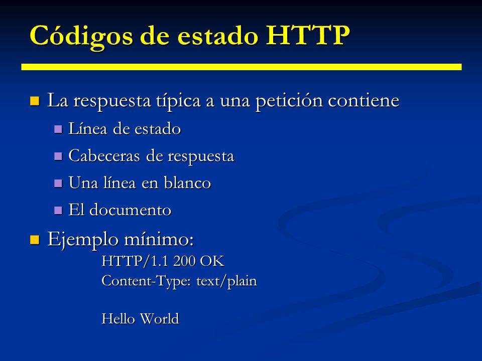 Códigos de estado HTTP La línea de estado consiste en: La línea de estado consiste en: Versión de HTTP utilizada Versión de HTTP utilizada Un entero indicando un código de estado Un entero indicando un código de estado Un texto corto correspondiente al código de estado Un texto corto correspondiente al código de estado Casi siempre, todas la cabeceras son opcionales salvo Content-Type Casi siempre, todas la cabeceras son opcionales salvo Content-Type No siempre se incluye un documento No siempre se incluye un documento Peticiones HEAD Peticiones HEAD Códigos de estado de fallo Códigos de estado de fallo