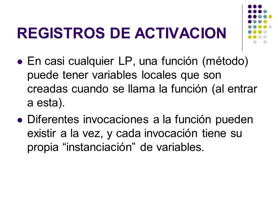 REGISTROS DE ACTIVACION En casi cualquier LP, una función (método) puede tener variables locales que son creadas cuando se llama la función (al entrar