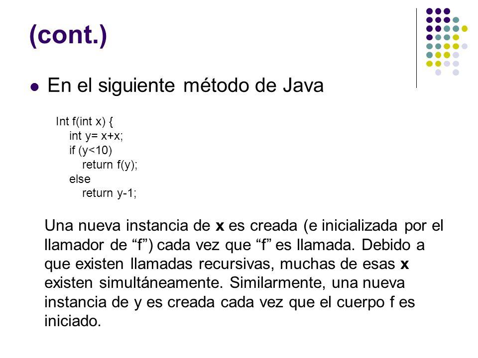 (cont.) En el siguiente método de Java Int f(int x) { int y= x+x; if (y<10) return f(y); else return y-1; Una nueva instancia de x es creada (e inicia