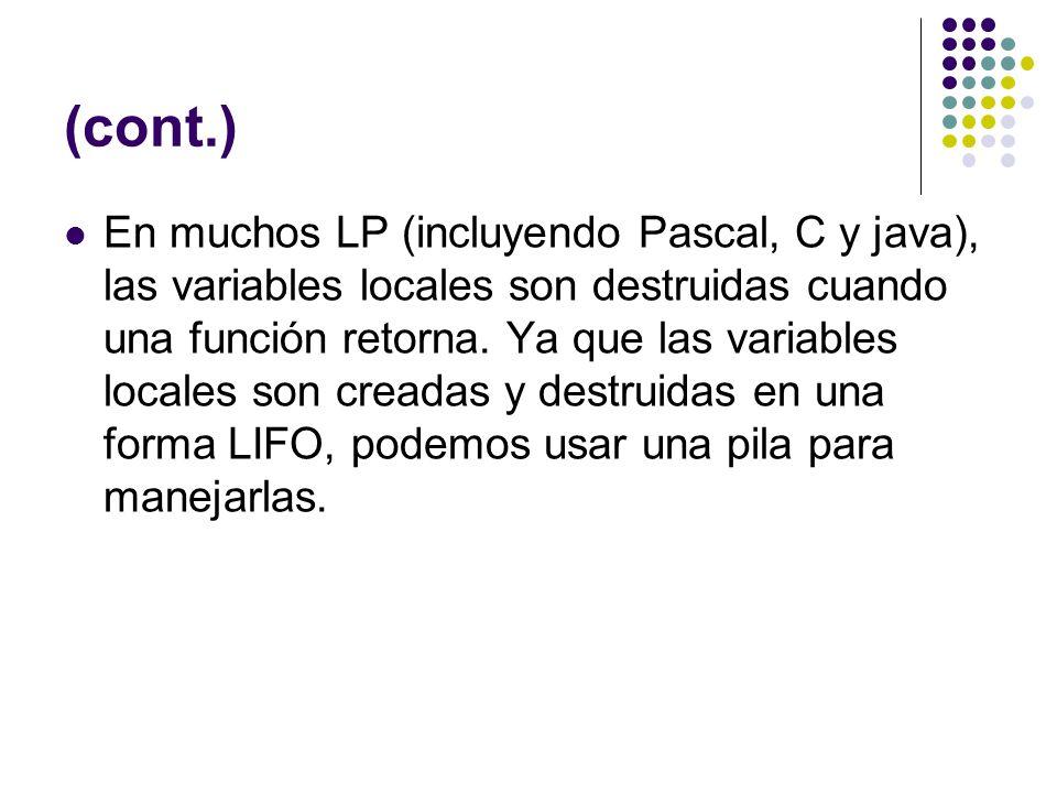 (cont.) En muchos LP (incluyendo Pascal, C y java), las variables locales son destruidas cuando una función retorna. Ya que las variables locales son
