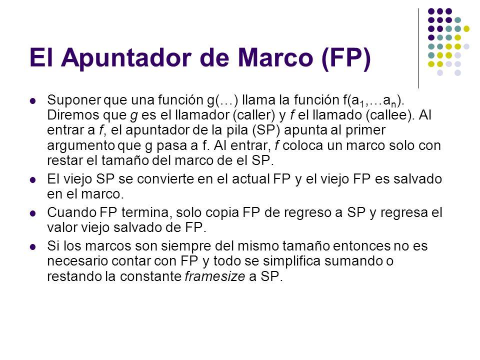El Apuntador de Marco (FP) Suponer que una función g(…) llama la función f(a 1,…a n ). Diremos que g es el llamador (caller) y f el llamado (callee).