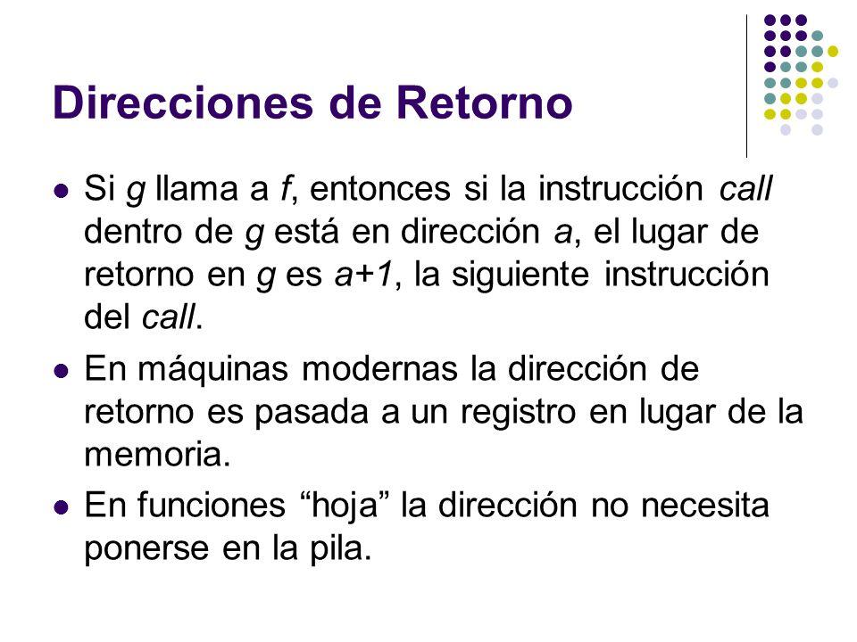 Direcciones de Retorno Si g llama a f, entonces si la instrucción call dentro de g está en dirección a, el lugar de retorno en g es a+1, la siguiente