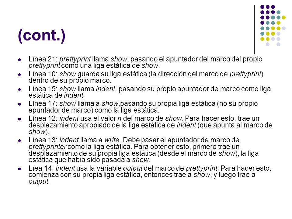 (cont.) Línea 21: prettyprint llama show, pasando el apuntador del marco del propio prettyprint como una liga estática de show. Línea 10: show guarda