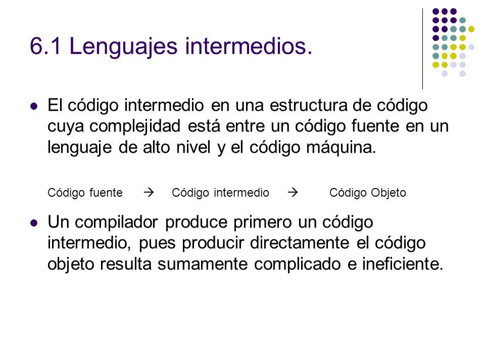 6.1 Lenguajes intermedios. El código intermedio en una estructura de código cuya complejidad está entre un código fuente en un lenguaje de alto nivel