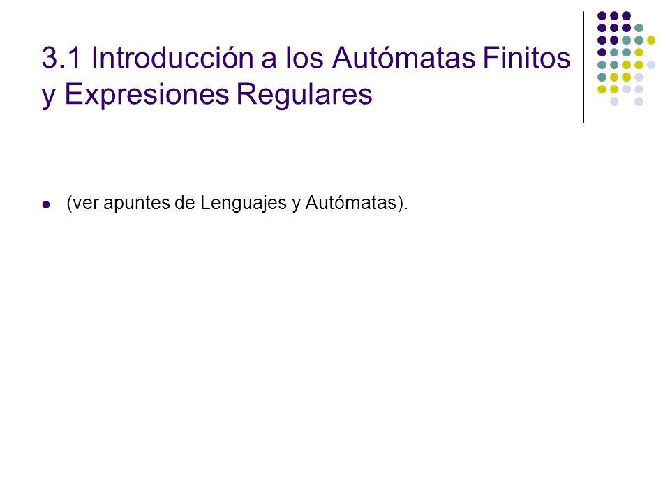 3.1 Introducción a los Autómatas Finitos y Expresiones Regulares (ver apuntes de Lenguajes y Autómatas).