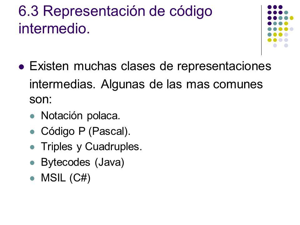 6.3 Representación de código intermedio. Existen muchas clases de representaciones intermedias. Algunas de las mas comunes son: Notación polaca. Códig
