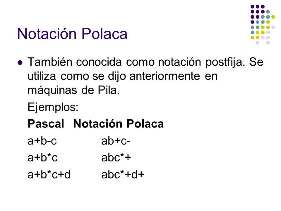 Notación Polaca También conocida como notación postfija. Se utiliza como se dijo anteriormente en máquinas de Pila. Ejemplos: PascalNotación Polaca a+