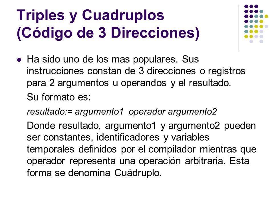 Triples y Cuadruplos (Código de 3 Direcciones) Ha sido uno de los mas populares. Sus instrucciones constan de 3 direcciones o registros para 2 argumen