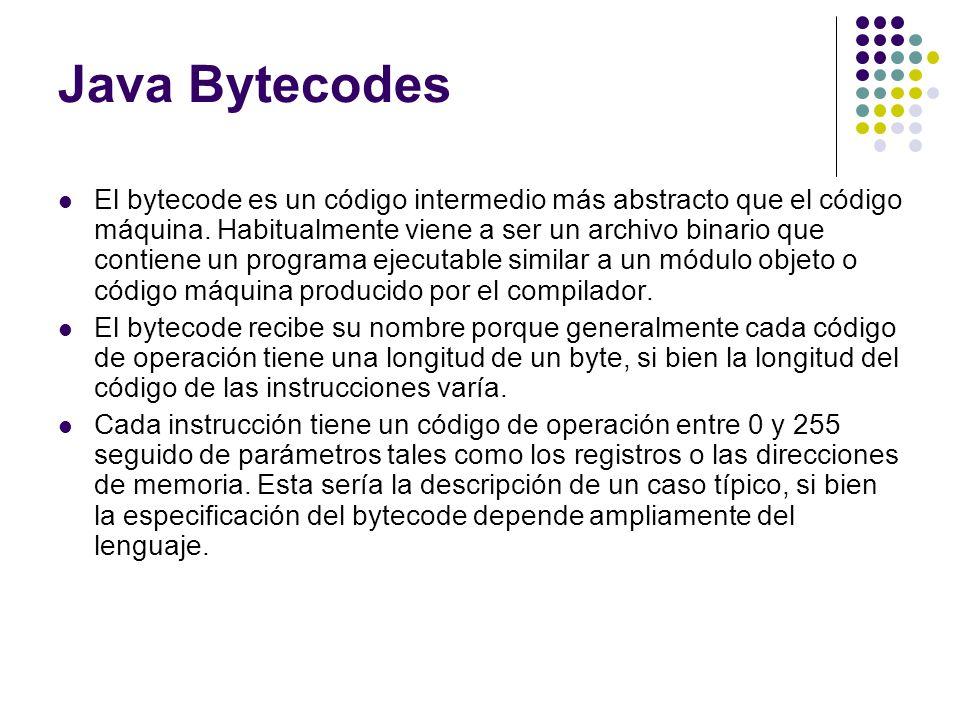 Java Bytecodes El bytecode es un código intermedio más abstracto que el código máquina. Habitualmente viene a ser un archivo binario que contiene un p