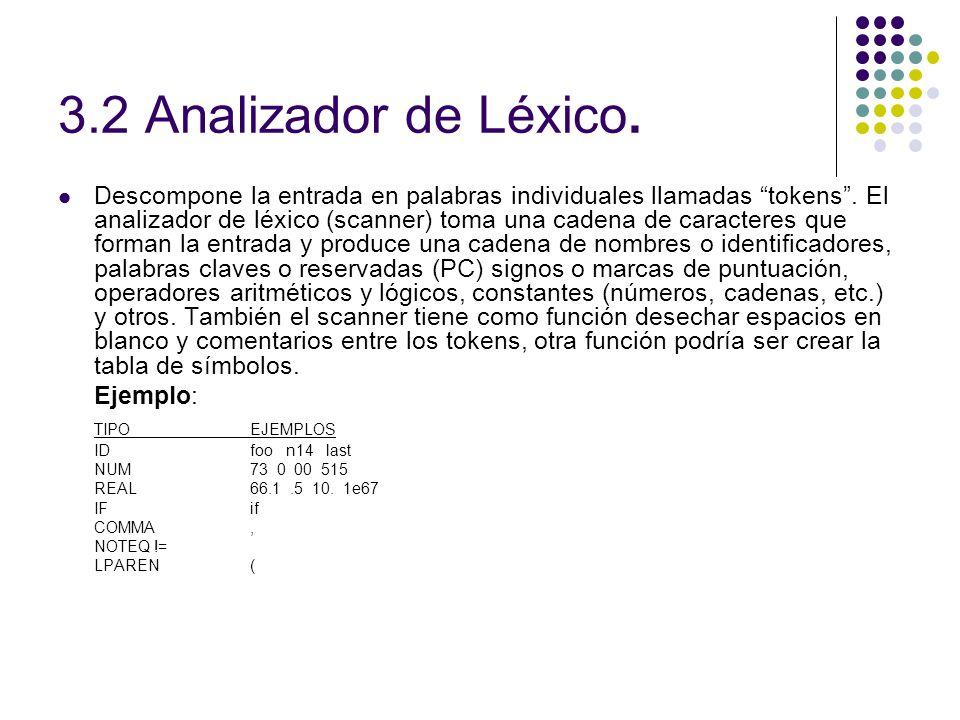 3.2 Analizador de Léxico. Descompone la entrada en palabras individuales llamadas tokens. El analizador de léxico (scanner) toma una cadena de caracte