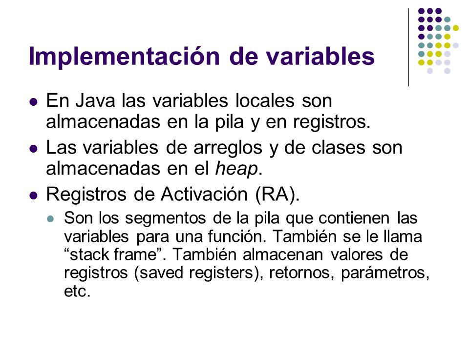 Implementación de variables En Java las variables locales son almacenadas en la pila y en registros. Las variables de arreglos y de clases son almacen
