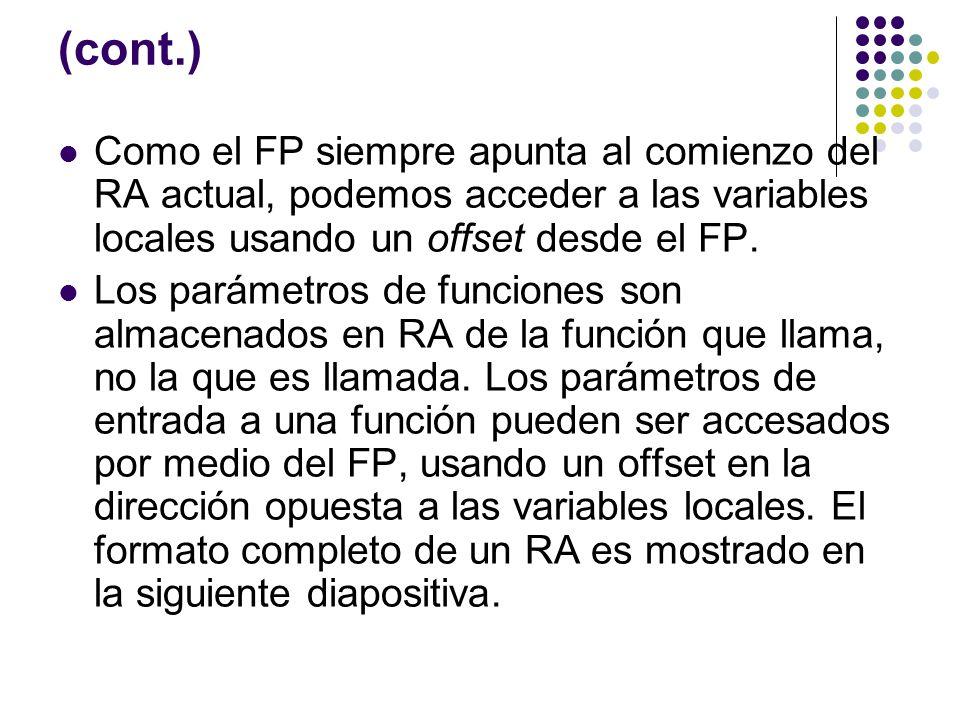 (cont.) Como el FP siempre apunta al comienzo del RA actual, podemos acceder a las variables locales usando un offset desde el FP. Los parámetros de f