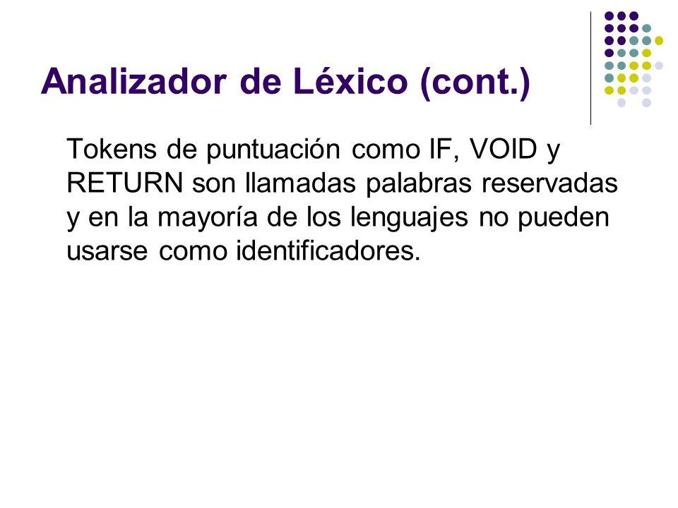 Analizador de Léxico (cont.) Tokens de puntuación como IF, VOID y RETURN son llamadas palabras reservadas y en la mayoría de los lenguajes no pueden u