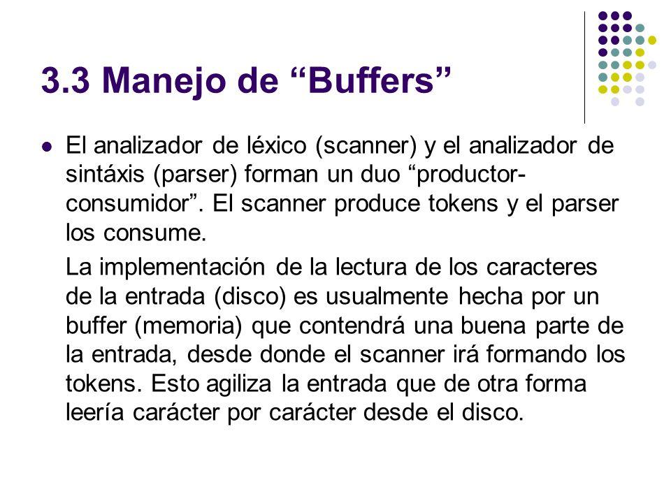 3.3 Manejo de Buffers El analizador de léxico (scanner) y el analizador de sintáxis (parser) forman un duo productor- consumidor. El scanner produce t