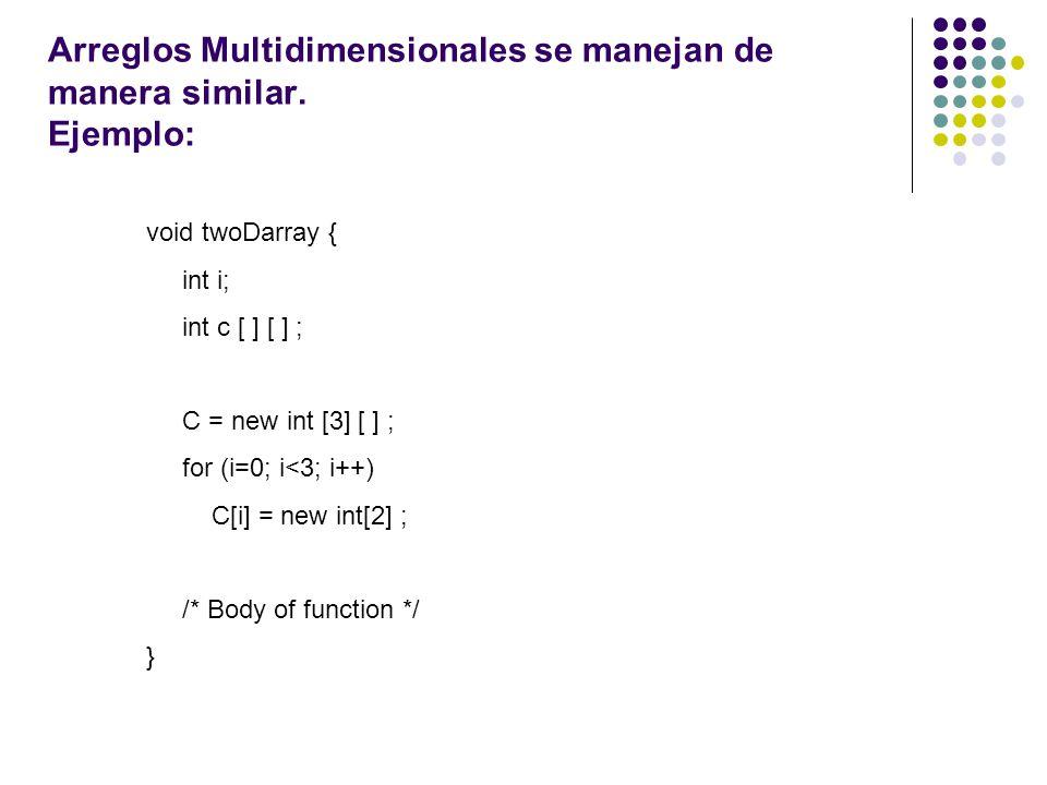 Arreglos Multidimensionales se manejan de manera similar. Ejemplo: void twoDarray { int i; int c [ ] [ ] ; C = new int [3] [ ] ; for (i=0; i<3; i++) C