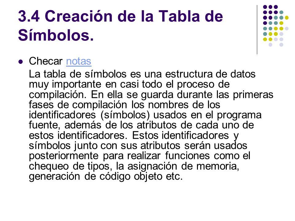 3.4 Creación de la Tabla de Símbolos. Checar notasnotas La tabla de símbolos es una estructura de datos muy importante en casi todo el proceso de comp