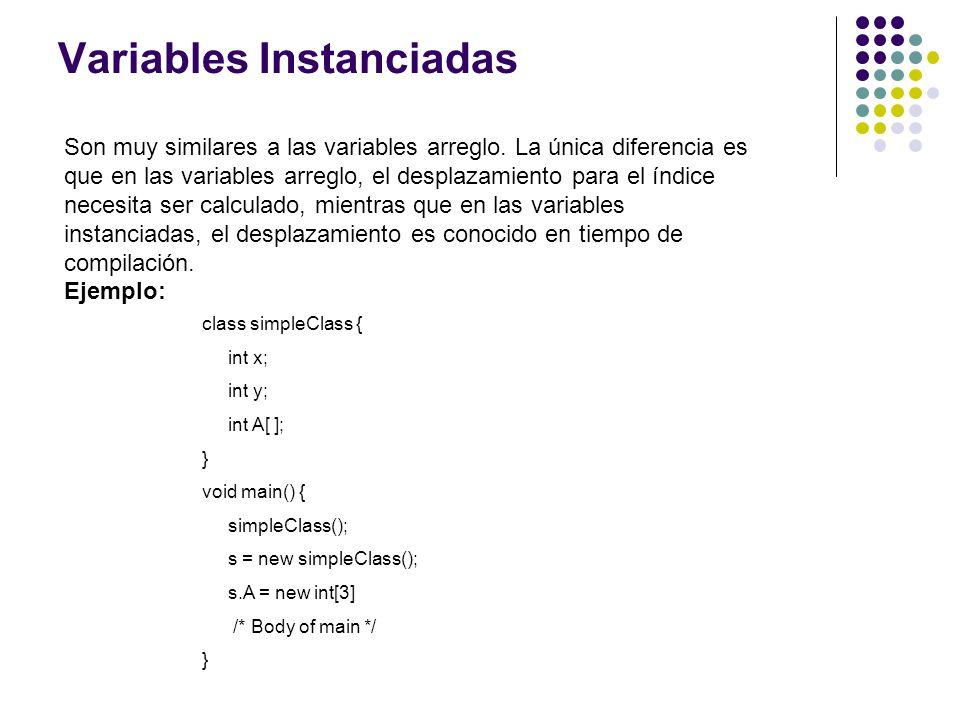 Variables Instanciadas Son muy similares a las variables arreglo. La única diferencia es que en las variables arreglo, el desplazamiento para el índic