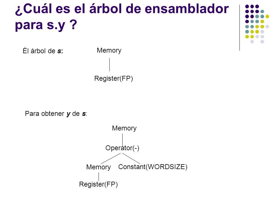 ¿Cuál es el árbol de ensamblador para s.y ? Memory Register(FP) Él árbol de s: Para obtener y de s: Memory Operator(-) Constant(WORDSIZE) Register(FP)