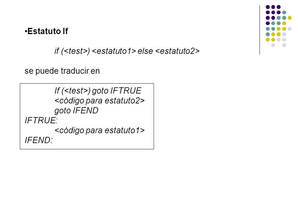 Estatuto If if ( ) else se puede traducir en If ( ) goto IFTRUE goto IFEND IFTRUE: IFEND:
