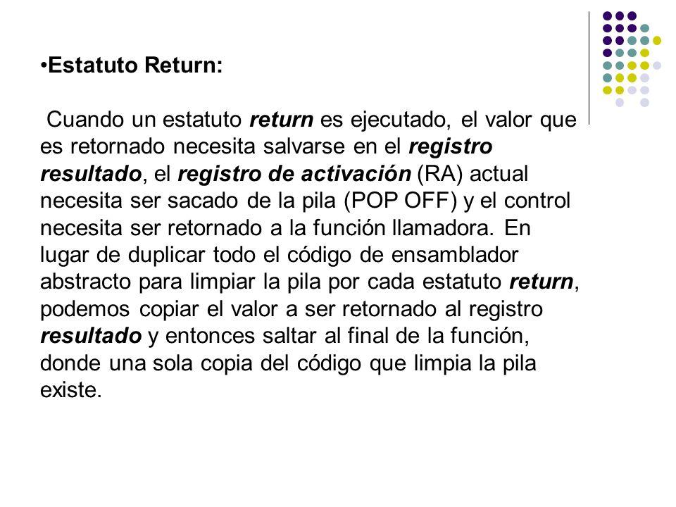 Estatuto Return: Cuando un estatuto return es ejecutado, el valor que es retornado necesita salvarse en el registro resultado, el registro de activaci