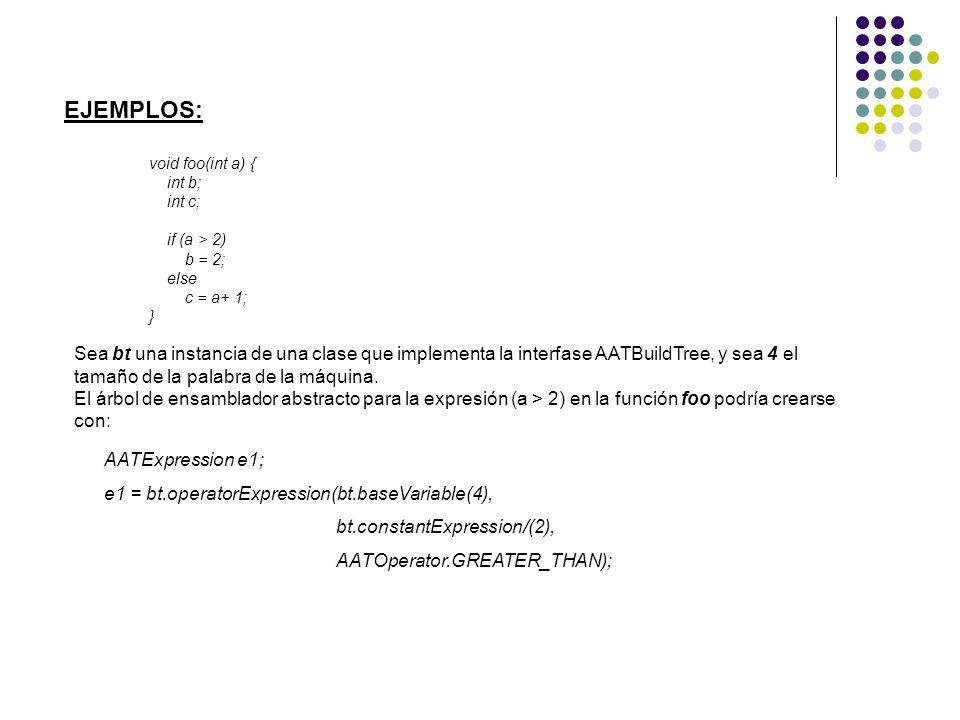 EJEMPLOS: void foo(int a) { int b; int c; if (a > 2) b = 2; else c = a+ 1; } Sea bt una instancia de una clase que implementa la interfase AATBuildTre
