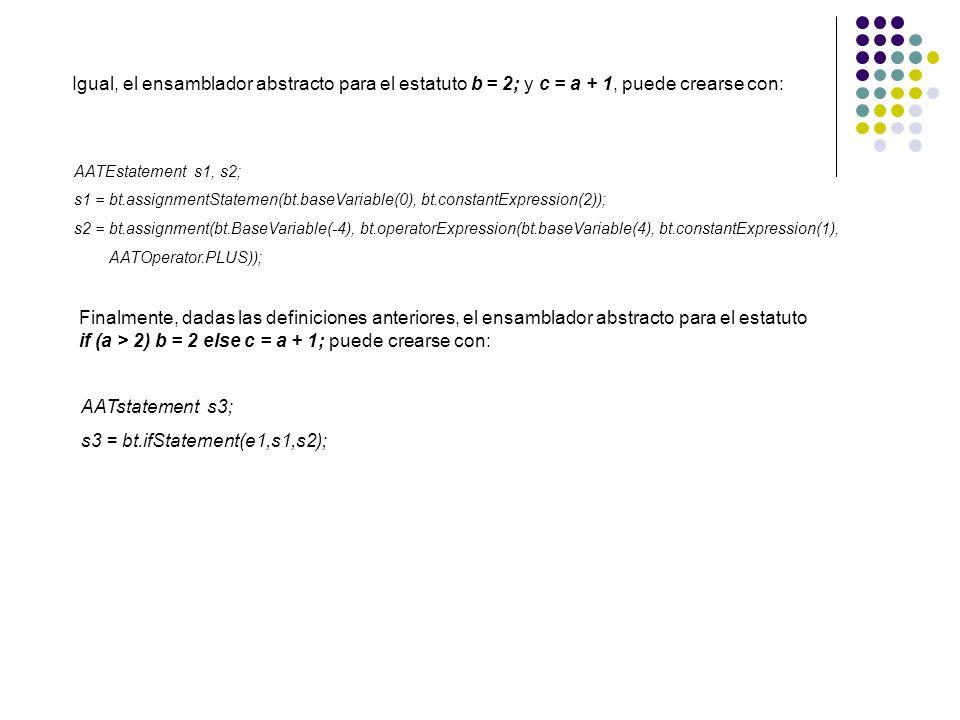 Igual, el ensamblador abstracto para el estatuto b = 2; y c = a + 1, puede crearse con: AATEstatement s1, s2; s1 = bt.assignmentStatemen(bt.baseVariab