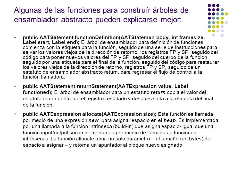 public AATSatement functionDefinition(AATStatemen body, int framesize, Label start, Label end); El árbol de ensamblador para definición de funciones c
