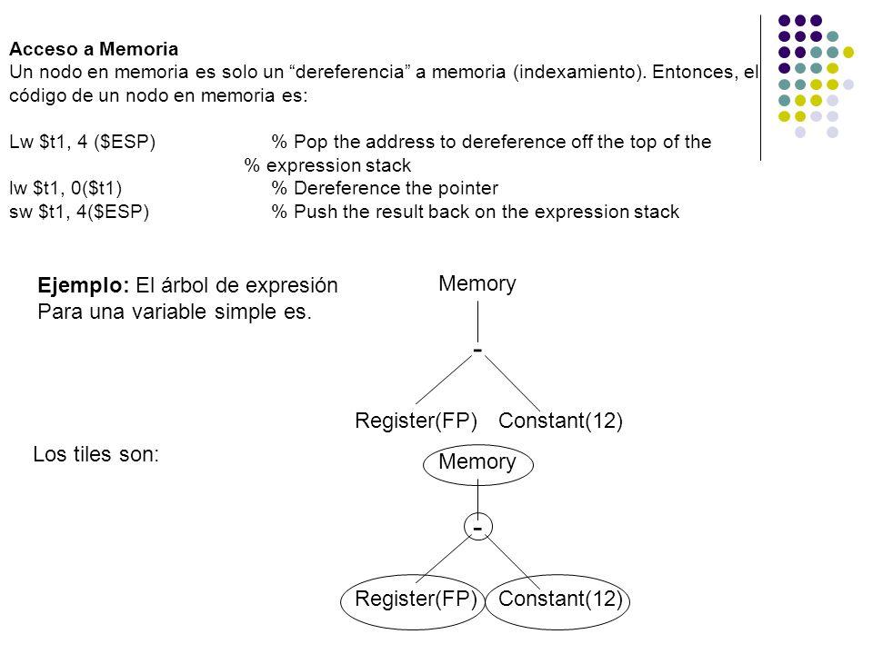 Acceso a Memoria Un nodo en memoria es solo un dereferencia a memoria (indexamiento). Entonces, el código de un nodo en memoria es: Lw $t1, 4 ($ESP)%