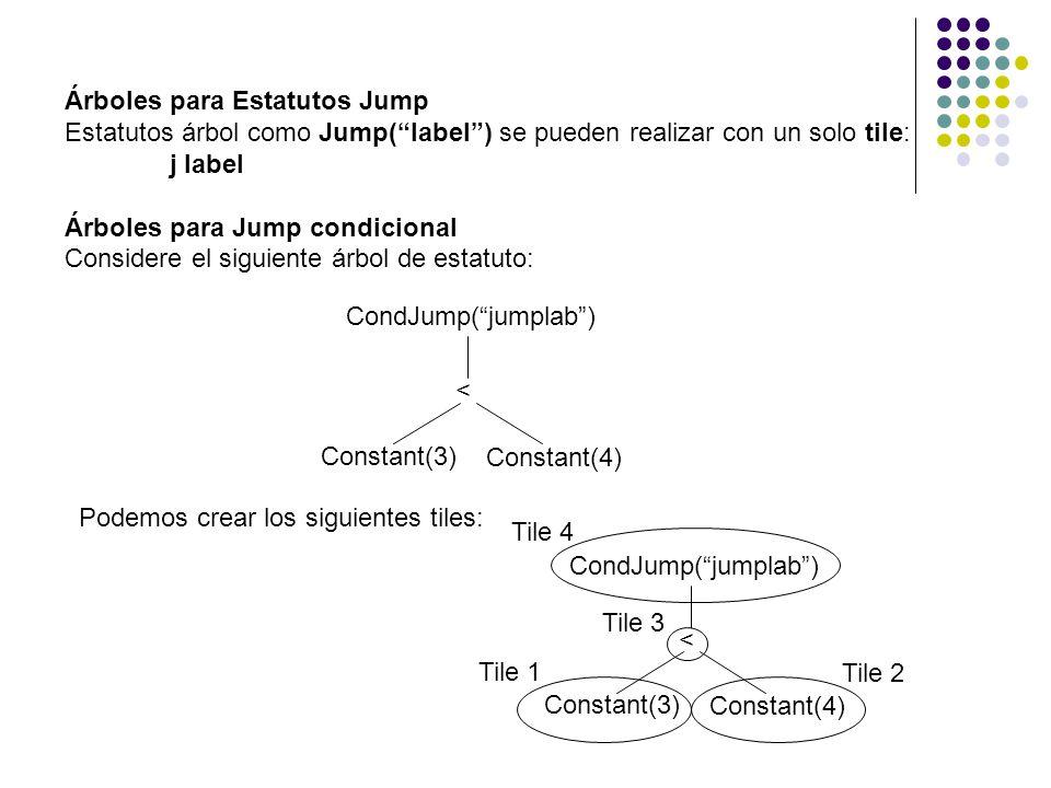 Árboles para Estatutos Jump Estatutos árbol como Jump(label) se pueden realizar con un solo tile: j label Árboles para Jump condicional Considere el s