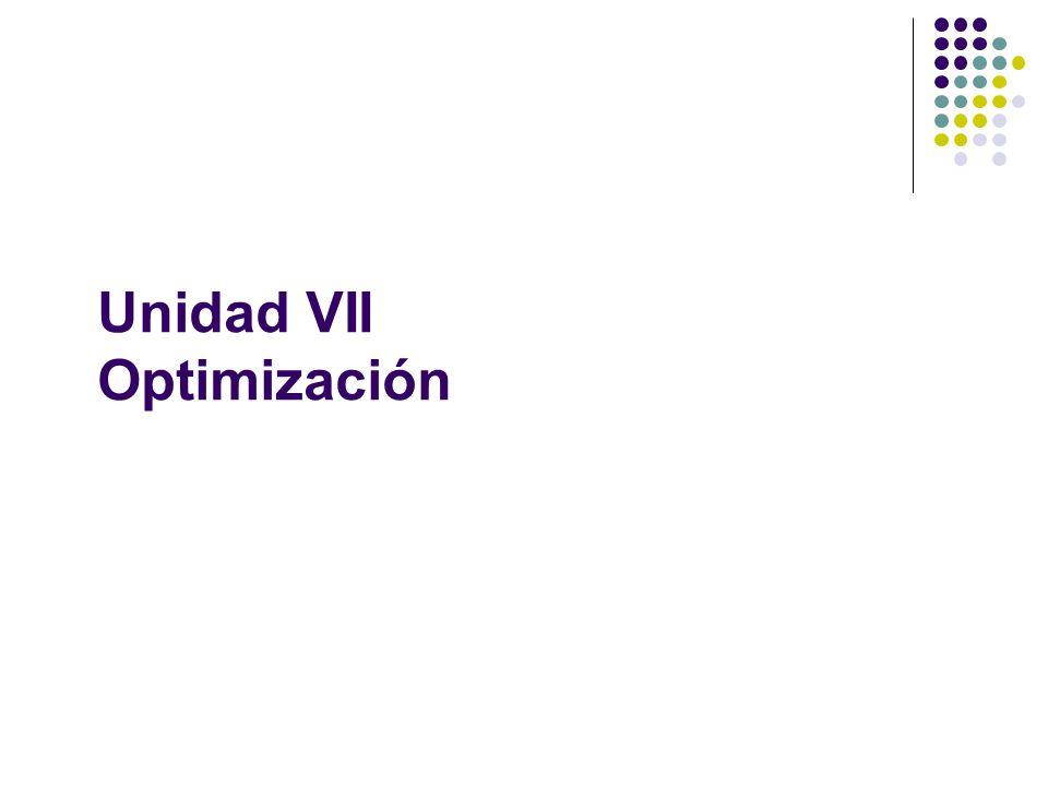 Unidad VII Optimización