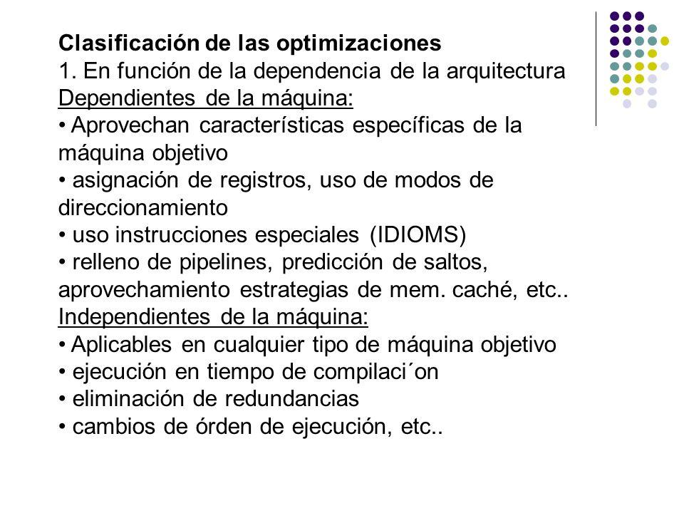 Clasificación de las optimizaciones 1. En función de la dependencia de la arquitectura Dependientes de la máquina: Aprovechan características específi