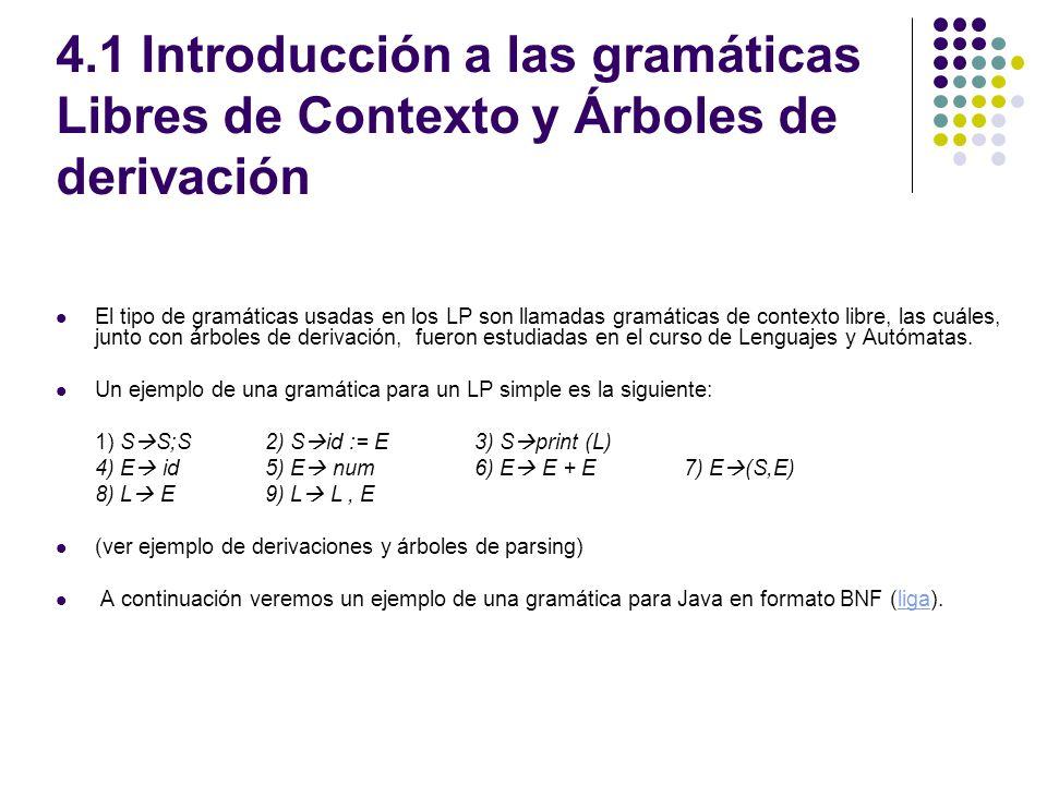 4.1 Introducción a las gramáticas Libres de Contexto y Árboles de derivación El tipo de gramáticas usadas en los LP son llamadas gramáticas de context