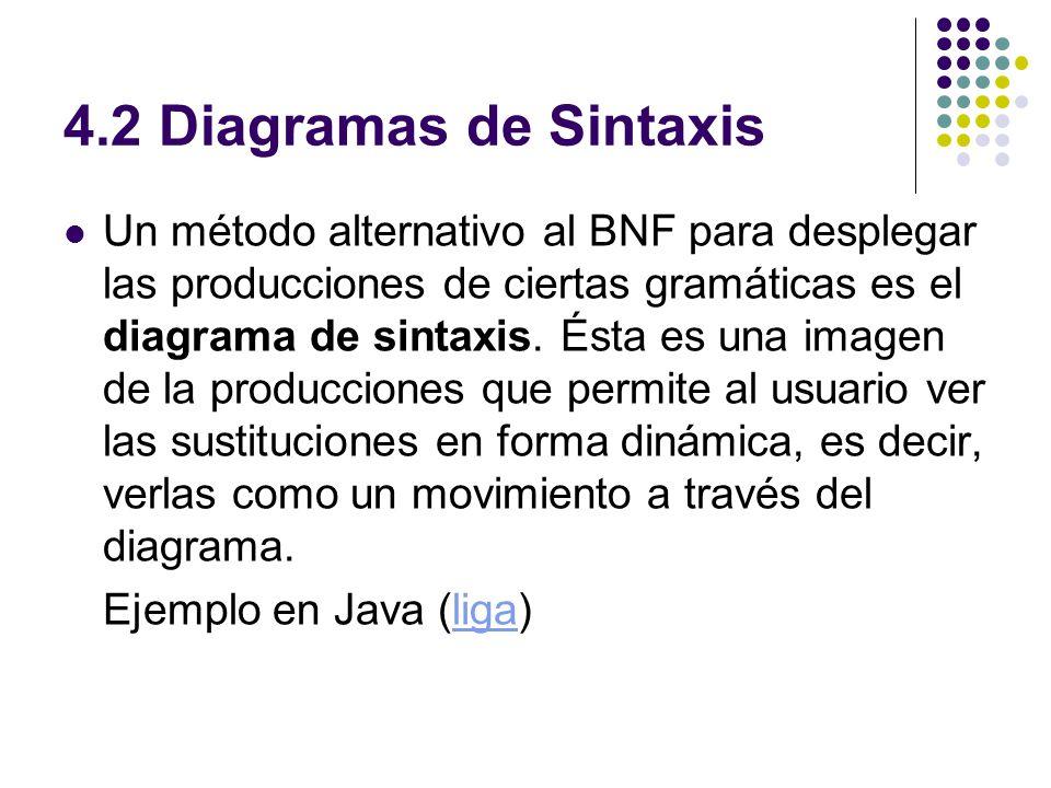 4.2 Diagramas de Sintaxis Un método alternativo al BNF para desplegar las producciones de ciertas gramáticas es el diagrama de sintaxis. Ésta es una i