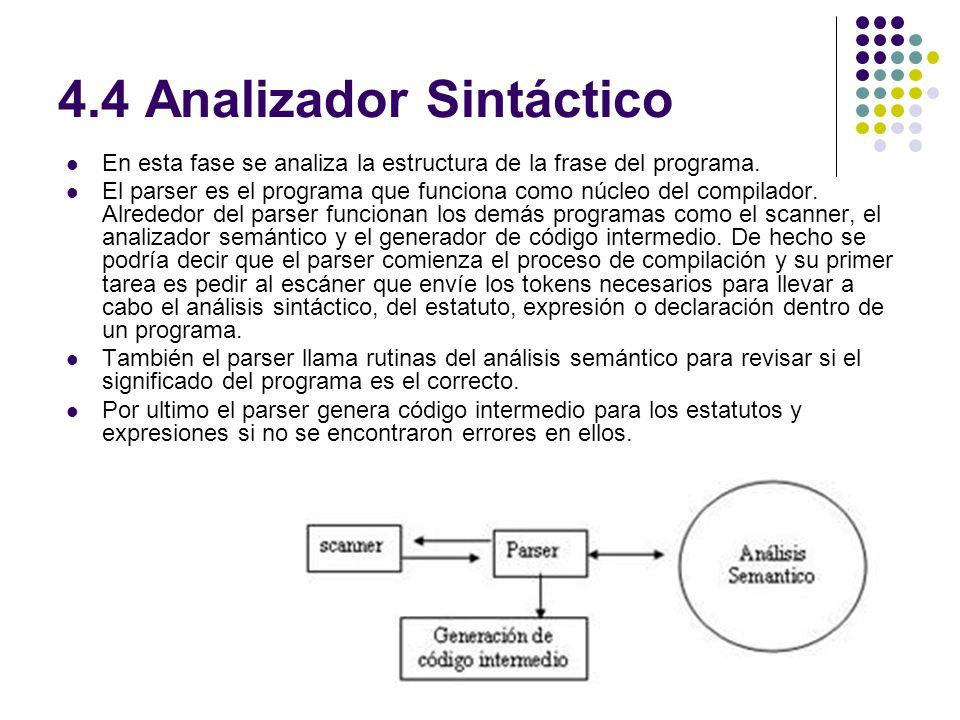 4.4 Analizador Sintáctico En esta fase se analiza la estructura de la frase del programa. El parser es el programa que funciona como núcleo del compil