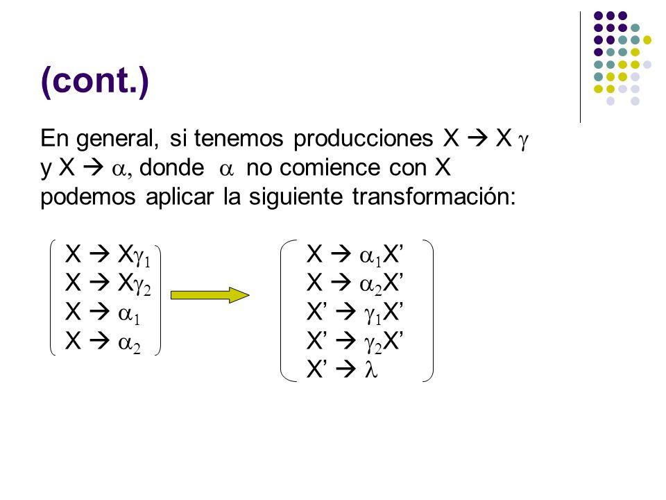(cont.) En general, si tenemos producciones X X y X donde no comience con X podemos aplicar la siguiente transformación: X X X X X X