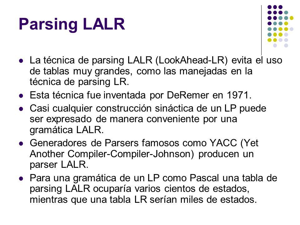Parsing LALR La técnica de parsing LALR (LookAhead-LR) evita el uso de tablas muy grandes, como las manejadas en la técnica de parsing LR. Esta técnic