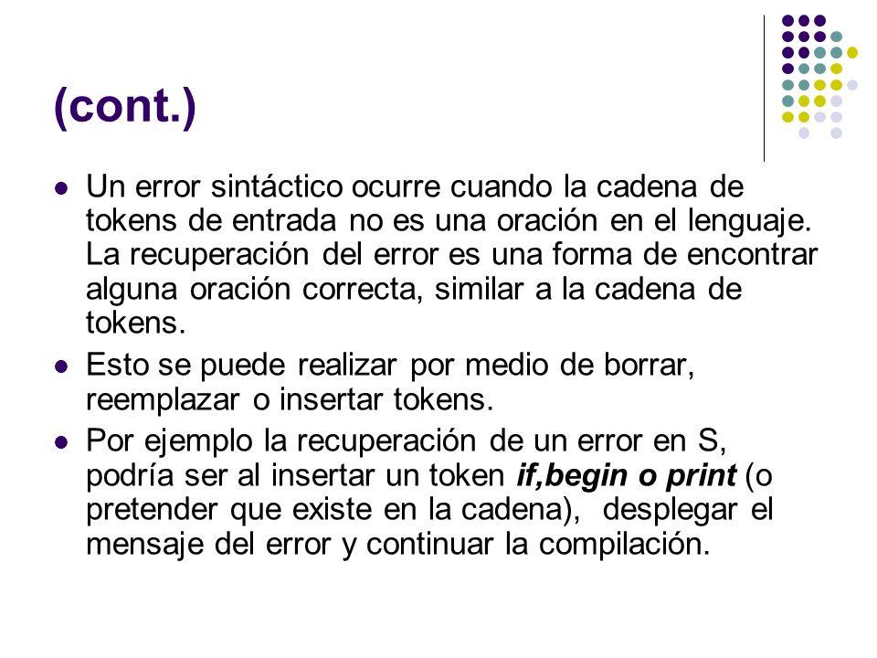 (cont.) Un error sintáctico ocurre cuando la cadena de tokens de entrada no es una oración en el lenguaje. La recuperación del error es una forma de e
