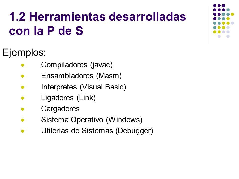 1.2 Herramientas desarrolladas con la P de S Ejemplos: Compiladores (javac) Ensambladores (Masm) Interpretes (Visual Basic) Ligadores (Link) Cargadore