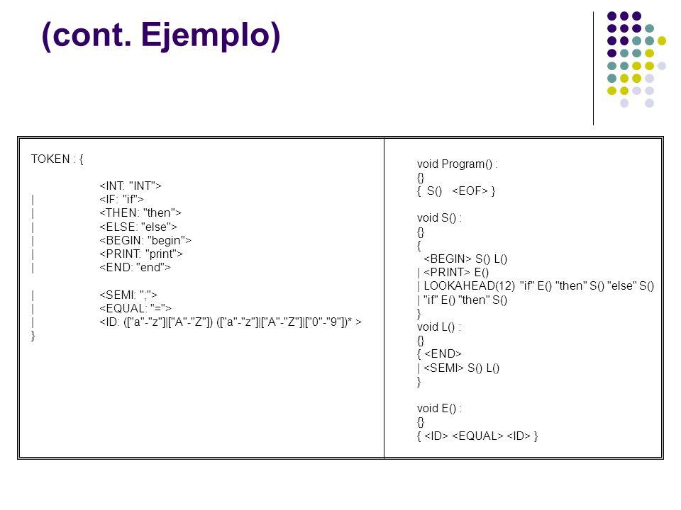 (cont. Ejemplo) TOKEN : { | } void Program() : {} { S() } void S() : {} { S() L() | E() | LOOKAHEAD(12)