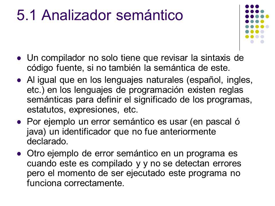 5.1 Analizador semántico Un compilador no solo tiene que revisar la sintaxis de código fuente, si no también la semántica de este. Al igual que en los