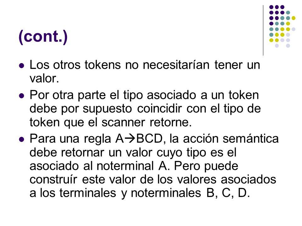 (cont.) Los otros tokens no necesitarían tener un valor. Por otra parte el tipo asociado a un token debe por supuesto coincidir con el tipo de token q