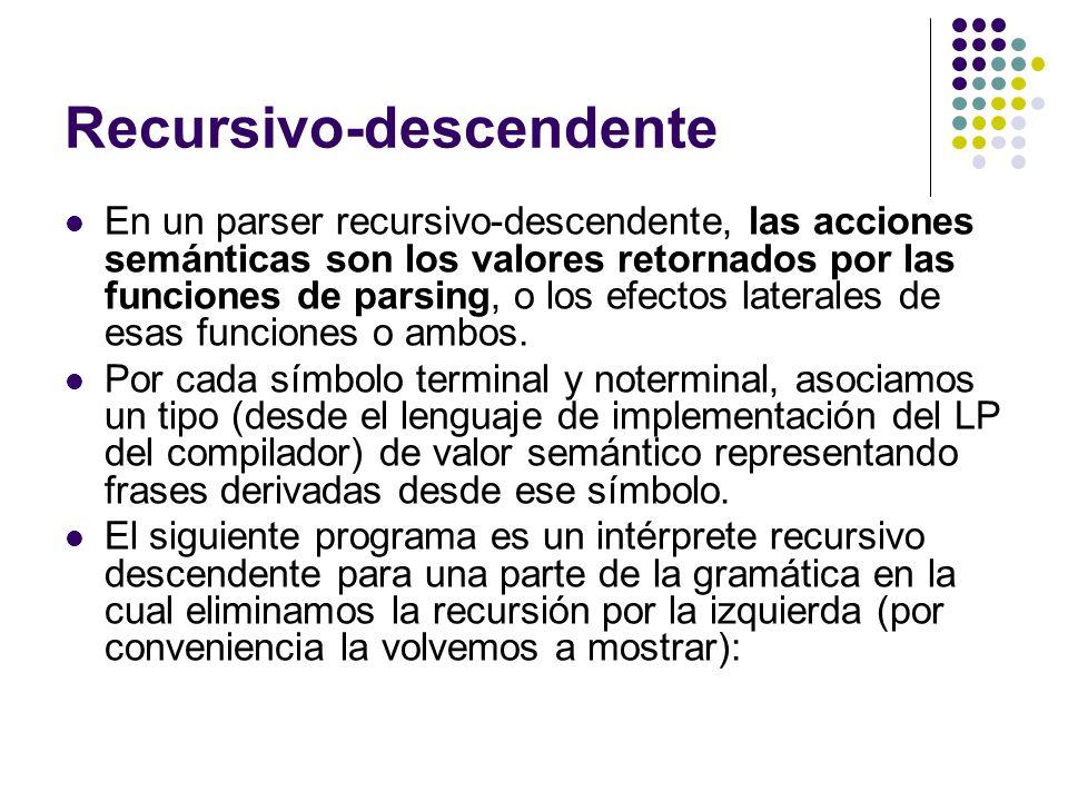Recursivo-descendente En un parser recursivo-descendente, las acciones semánticas son los valores retornados por las funciones de parsing, o los efect