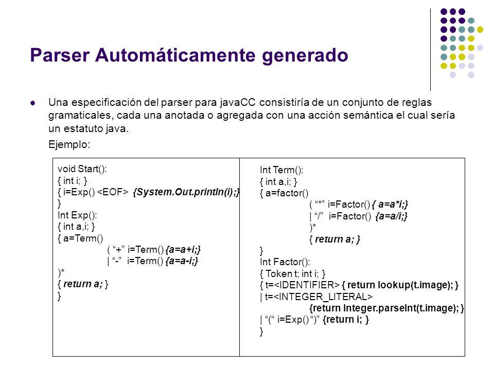 Parser Automáticamente generado Una especificación del parser para javaCC consistiría de un conjunto de reglas gramaticales, cada una anotada o agrega