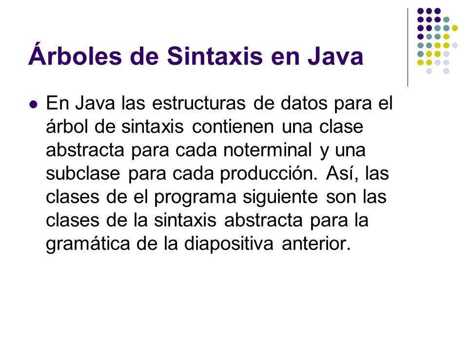Árboles de Sintaxis en Java En Java las estructuras de datos para el árbol de sintaxis contienen una clase abstracta para cada noterminal y una subcla