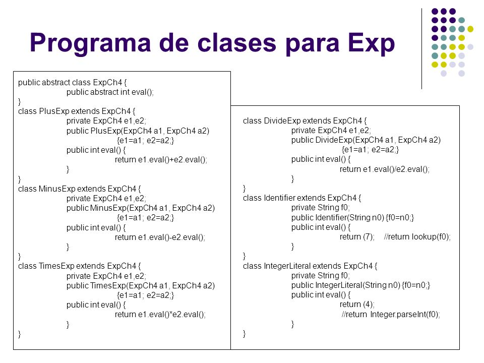 public abstract class ExpCh4 { public abstract int eval(); } class PlusExp extends ExpCh4 { private ExpCh4 e1,e2; public PlusExp(ExpCh4 a1, ExpCh4 a2)