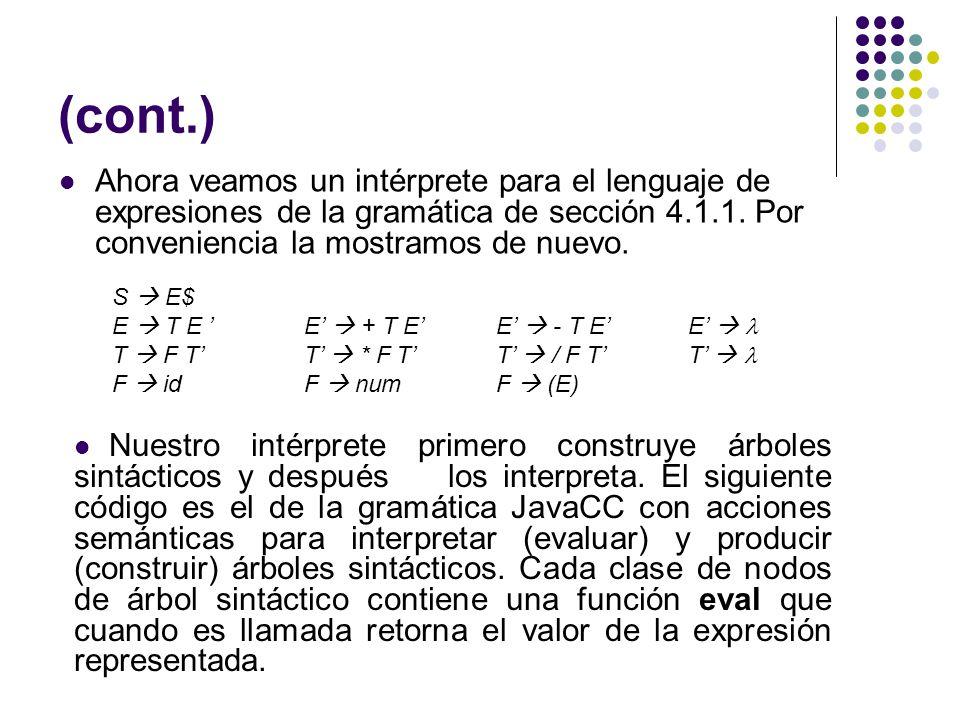 (cont.) Ahora veamos un intérprete para el lenguaje de expresiones de la gramática de sección 4.1.1. Por conveniencia la mostramos de nuevo. S E$ E T